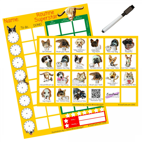 All-in-one Reward Chart with Clocks and Weekly Planner